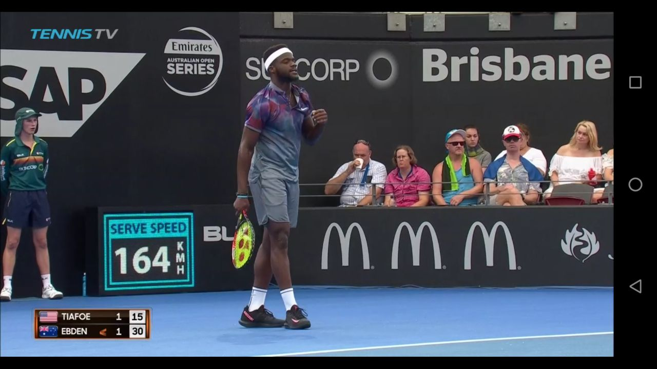 frances tiafoe wears a new never seen nike tennis shoe at brisbane